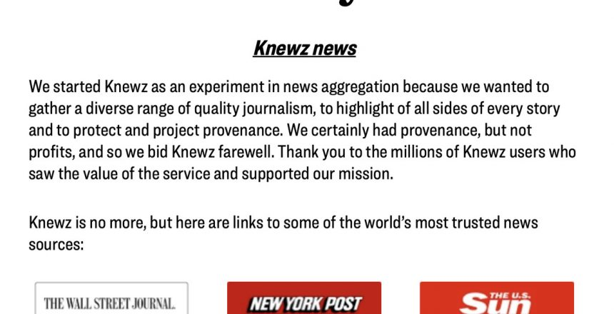 News Corp gives up on its 'Knewz' aggregator after 18 months