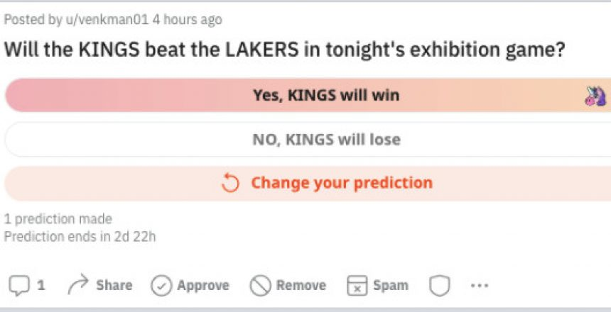 Reddit's latest feature turns predictions into a tournament