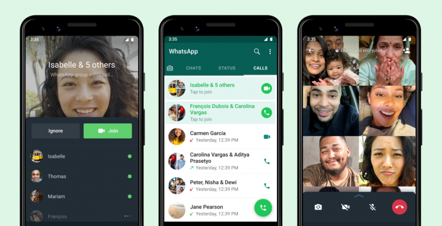 You can now join a missed WhatsApp group call midway - here's how Joinable calls being shown on three phones within WhatsApp
